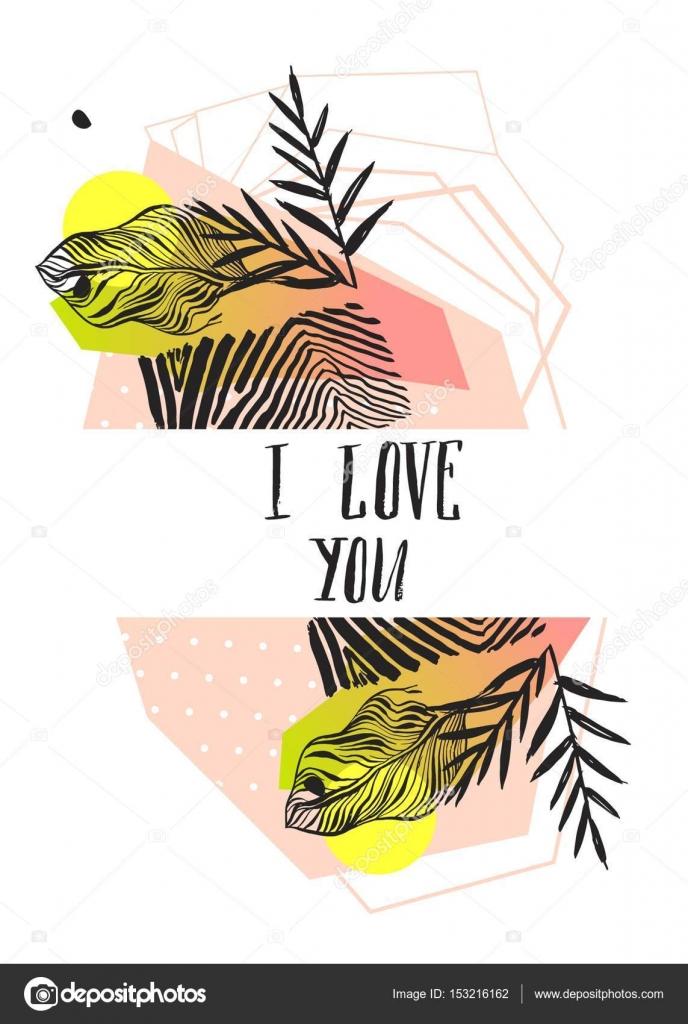 Hecho a mano gráfico abstracto vectorial San Valentín plantilla de ...
