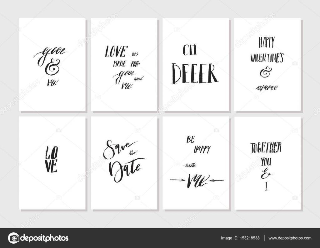 Hand Made Vector Graphic Simple Valentines Day Greeting Card Set With Romantic Rough Ink Calligraphy Phases And Quotes Isolated On White BackgroundDesign
