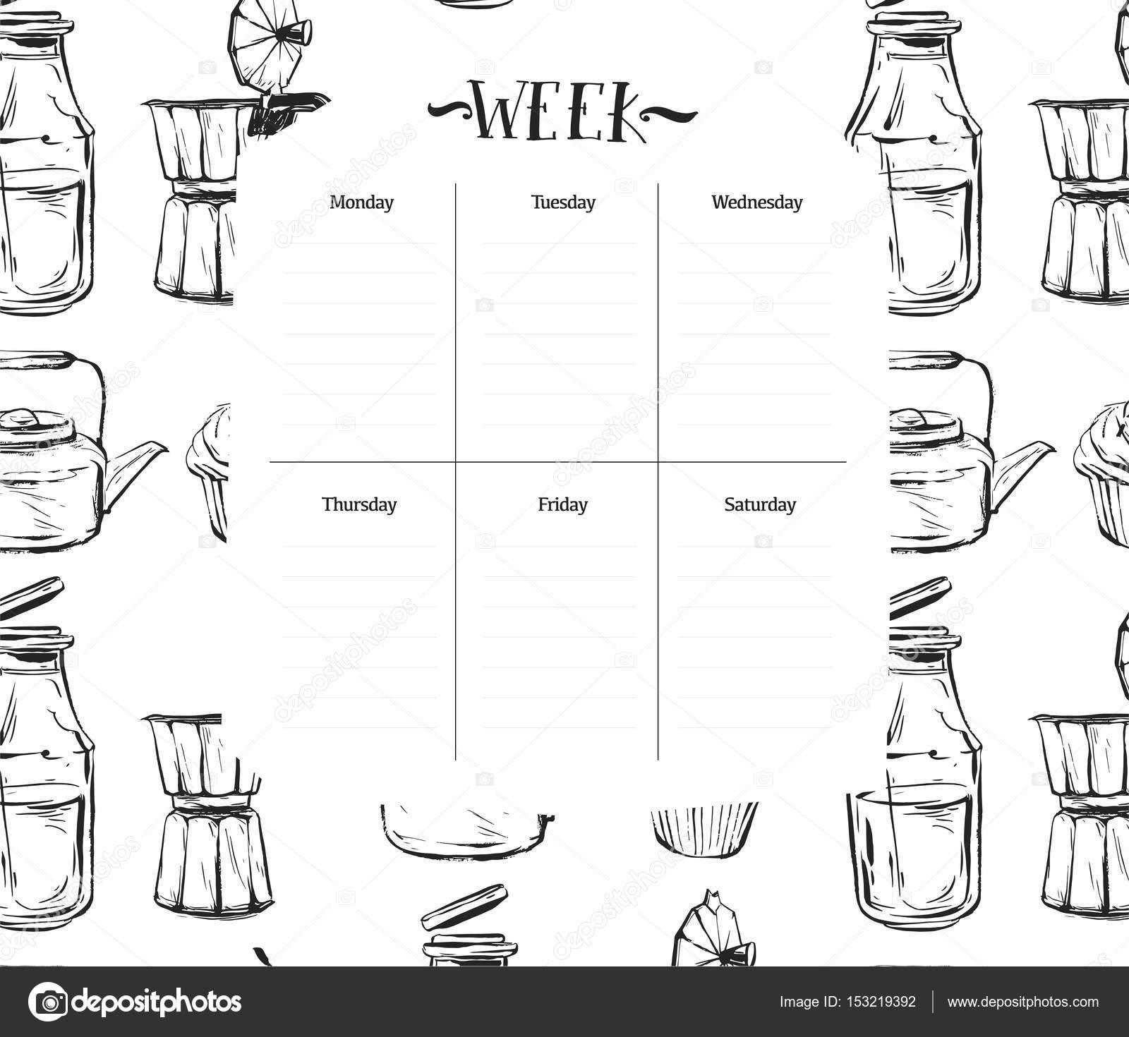 Skandinavische wöchentliche und tägliche Essen Planer Template ...