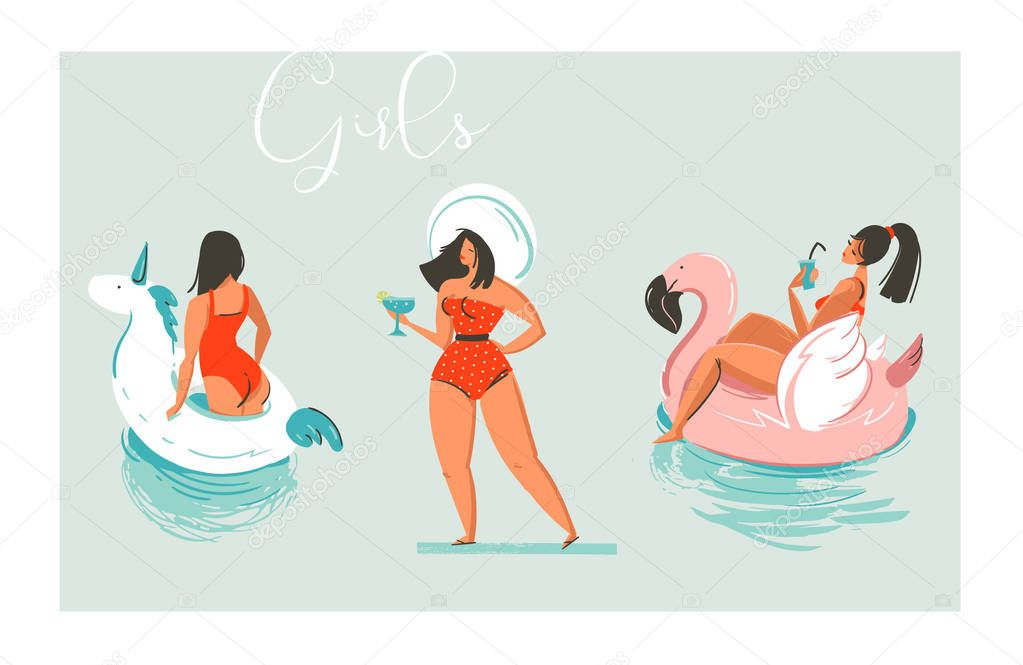 Hand drawn vector cartoon summer time fun beach girls collection illustration set with swimming pool float unicorn and flamingo rings and retro girl in hat with cocktail isolated on blue background