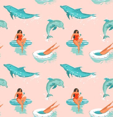 Hand drawn vector abstract summer time fun seamless pattern with surfers girl in bikini ,dog on surfboards and jumping dolphins isolated on pastel background.