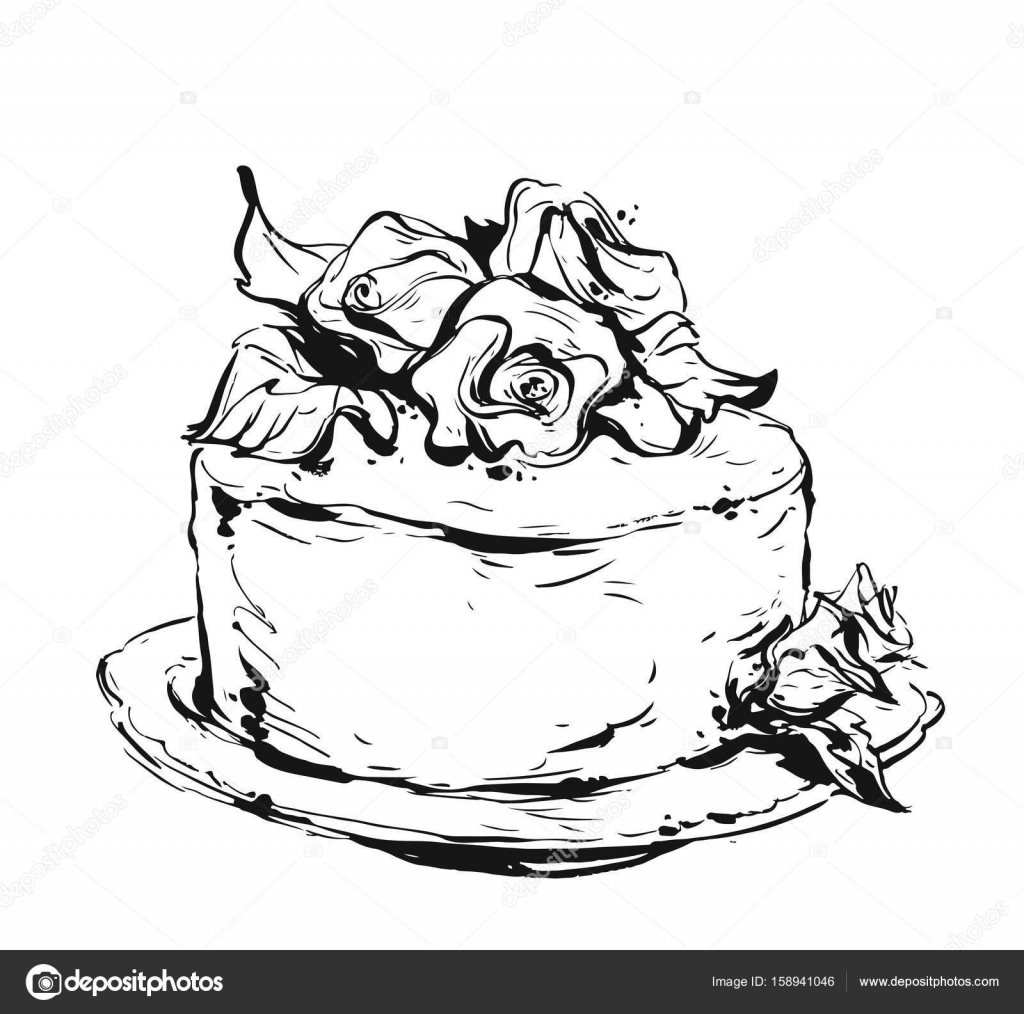 hand drawn vector cute birthday or wedding template card with cake