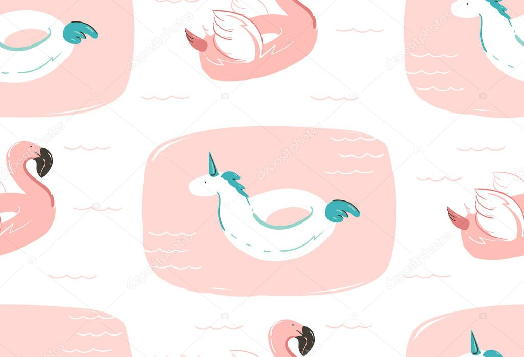 Hand drawn vector abstract summer time fun seamless pattern with pink flamingo float and unicorn swimming pool buoy circle isolated on white background