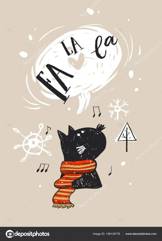 Hand drawn vector abstract merry christmas greeting card template hand drawn vector abstract merry christmas greeting card template with cute black cat character in red scarfwho sings christmas song fa la lachristmas m4hsunfo