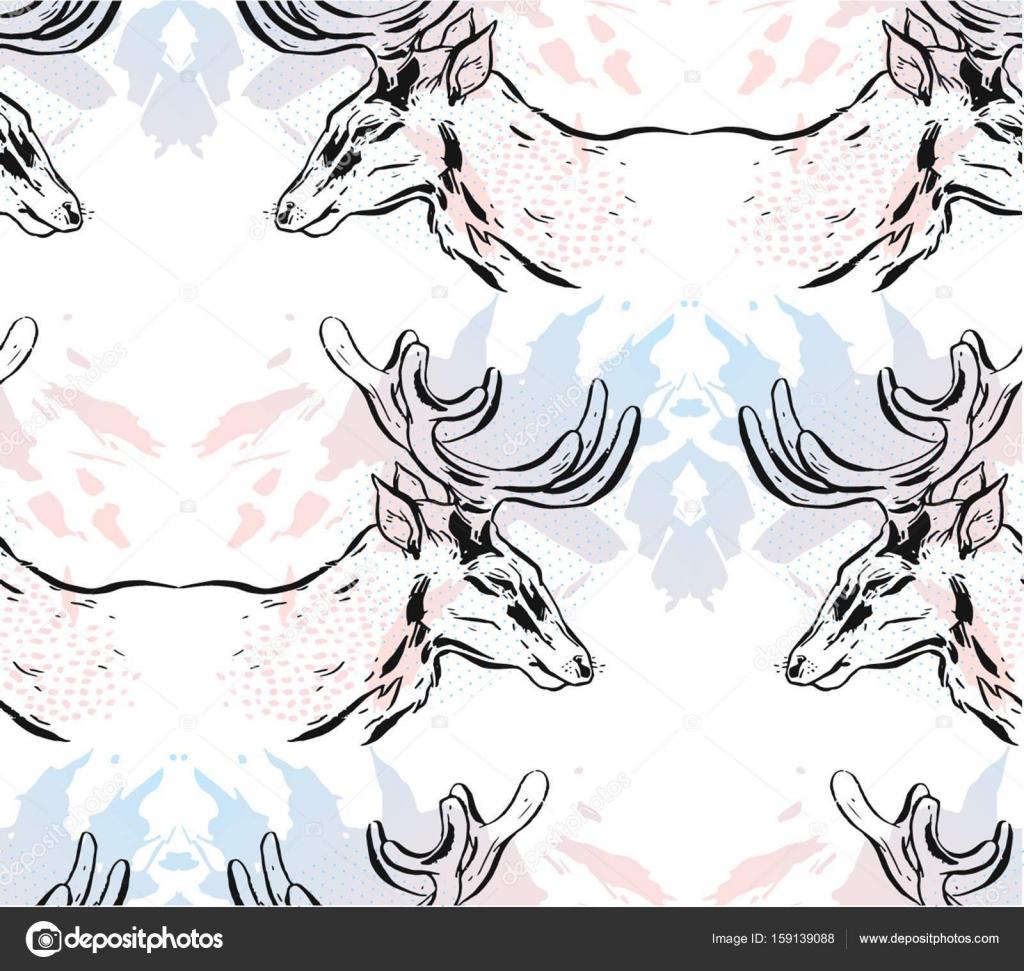 Resumen de vectores dibujados mano espejo de patrones sin fisuras ...