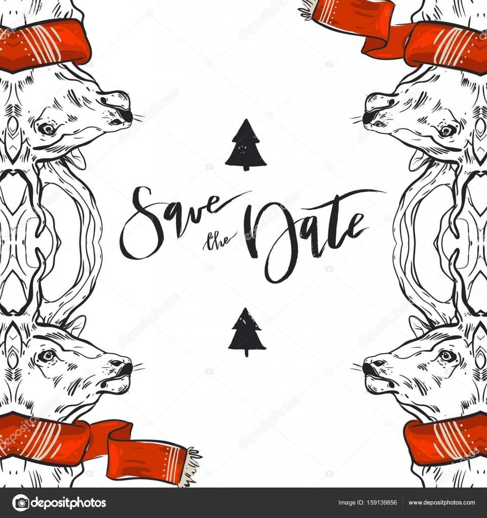 Hand gezeichnet Vektor Grafik Frohe Weihnachten vormerken Dekoration ...