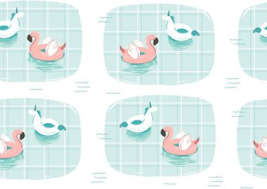 Hand drawn vector abstract cartoon summer time fun illustration with pink flamingo and unicorn buoy ring in blue swimming pool texture isolated on white background