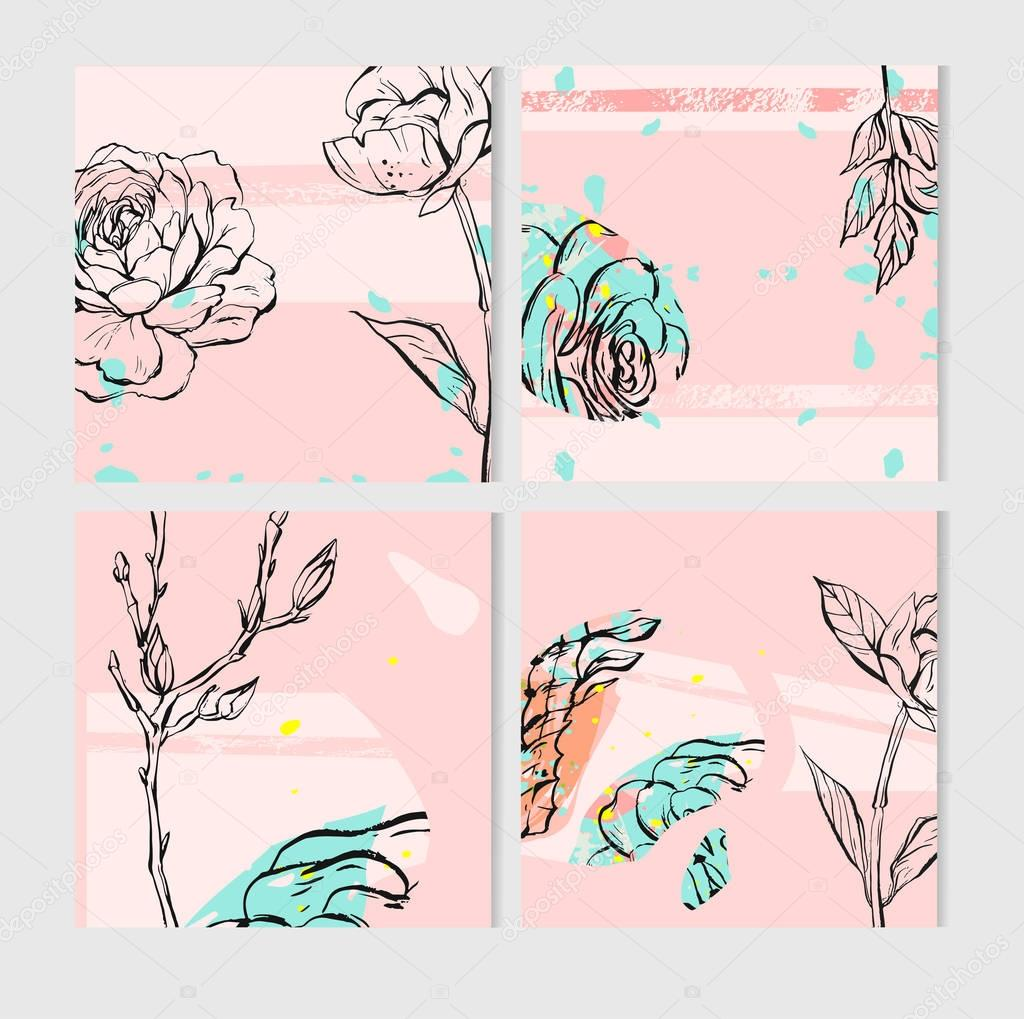 Geometric cactus and succulents on pink background. Vector set with succulents flowers, concrete pots and glass terrariums. Vector illustration. Seamless pattern.