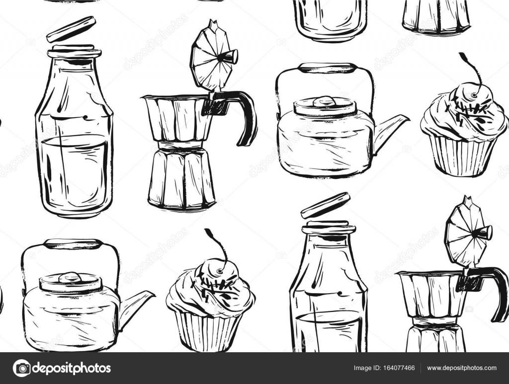 Stoff Küche | Leckeres Essen Musterdesign Hand Gezeichnet Vektor Gut Fur