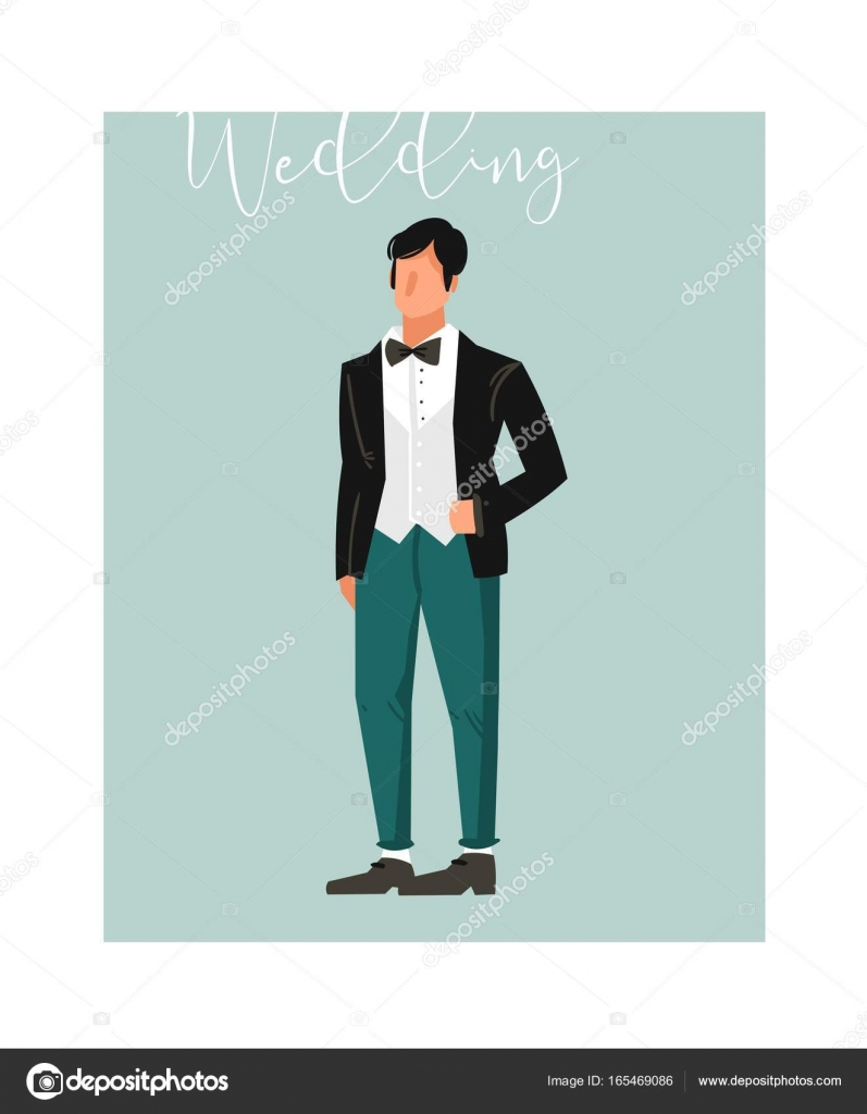 Hand drawn vector abstract cartoon wedding groom illustration ...