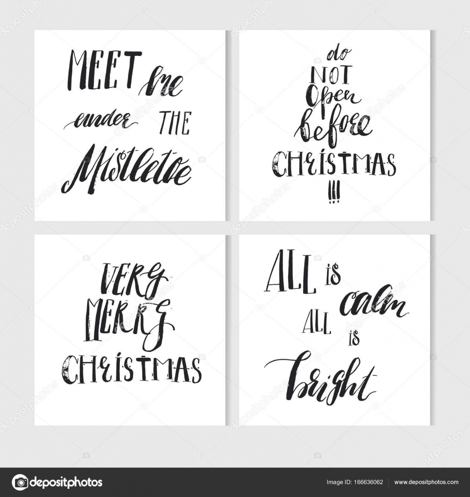 Hand made vector abstract merry christmas greeting cards set with hand made vector abstract merry christmas greeting cards set with elegant ink modern calligraphy phases and quotes isolated on white background kristyandbryce Image collections