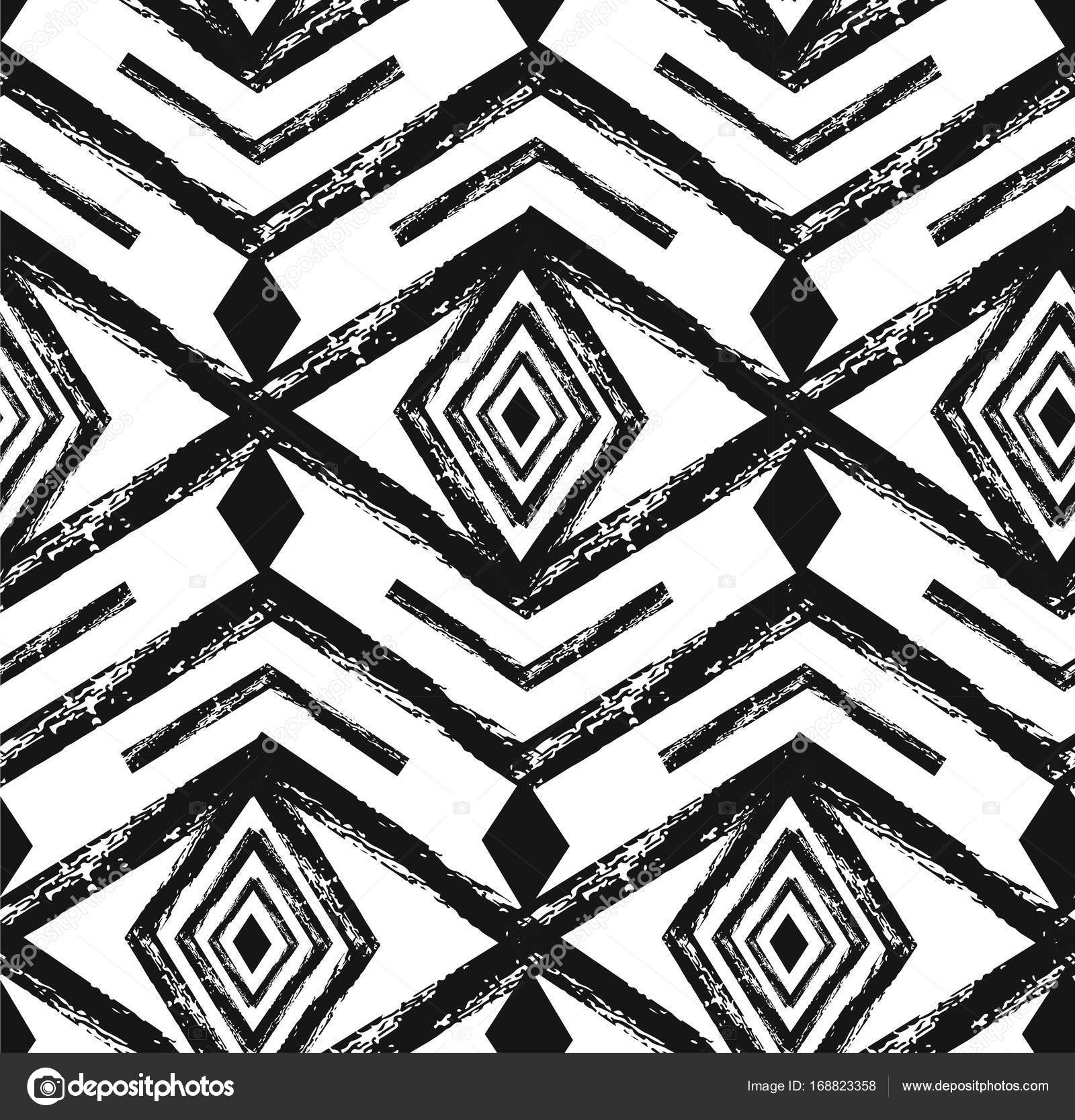 Black Tribal Navajo Vector Seamless Pattern With Doodle Elements Aztec Abstract Geometric Art Print Ethnic Hipster Backdrop Wallpaper Cloth Design