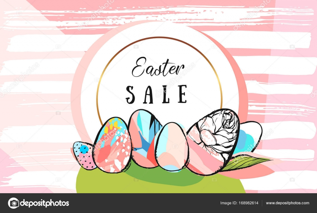 drawn vector abstract creative Easter Sale greeting border design ...