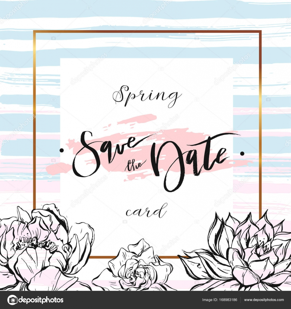 Save The Date Cards Wedding Invitation With Hand Drawn Lettering