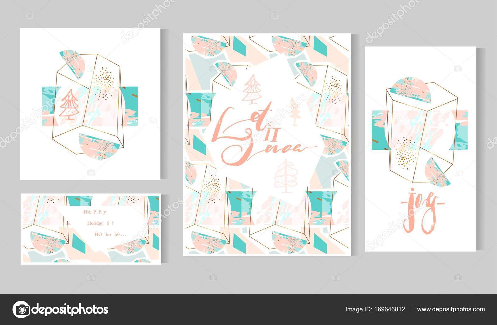 Hand Drawn Vector Abstract Artistic Geometric Merry Christmas Greeting Cards Template Set On Polygonal Terrarium Background In Gold White Pink Pastel And Tiffany Blue Colors Stock Vector C Helter Skelter Nastya Yandex Ru 169646812