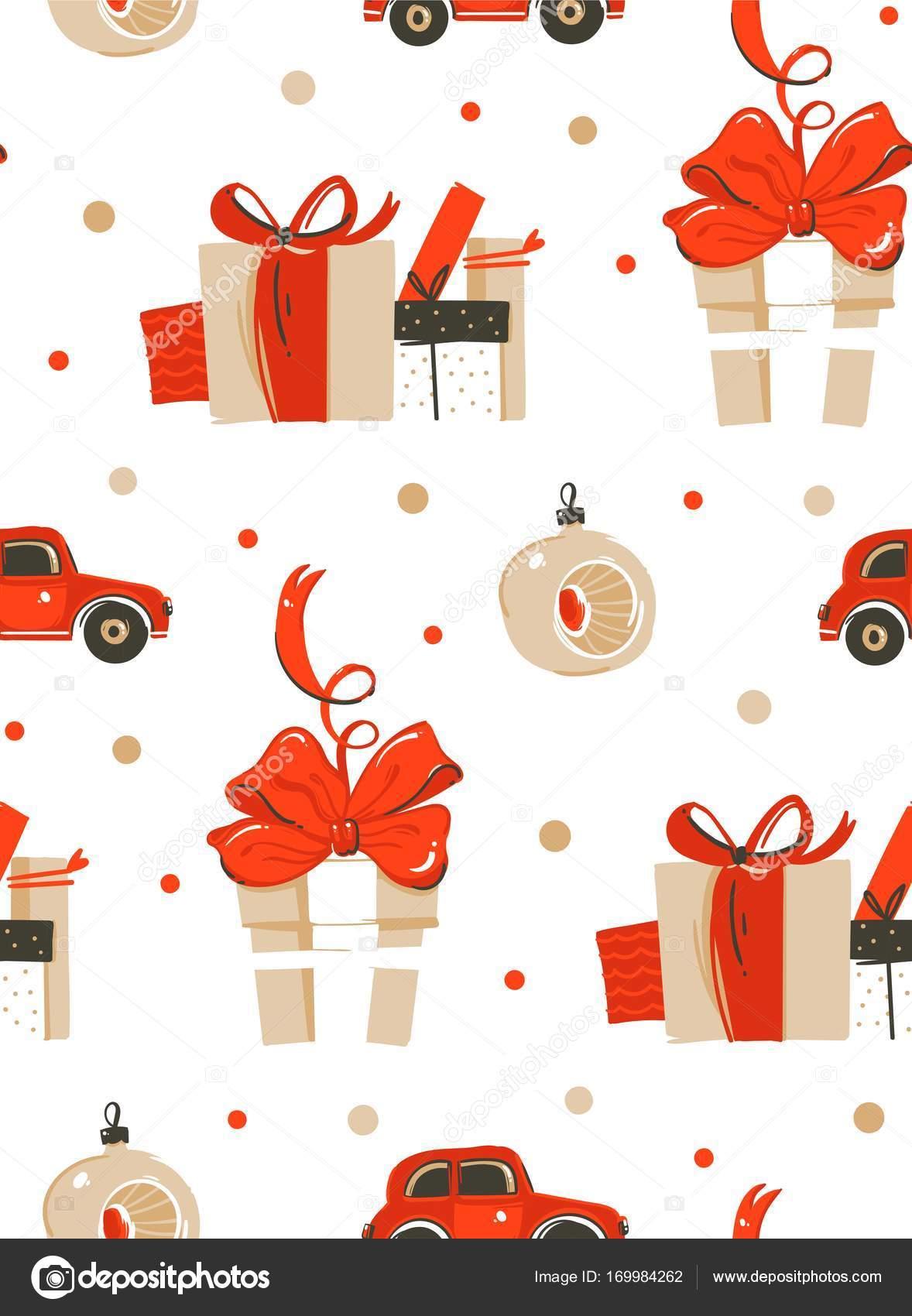 Retro cajas de regalo de Navidad. patrón sin costuras — Archivo ...