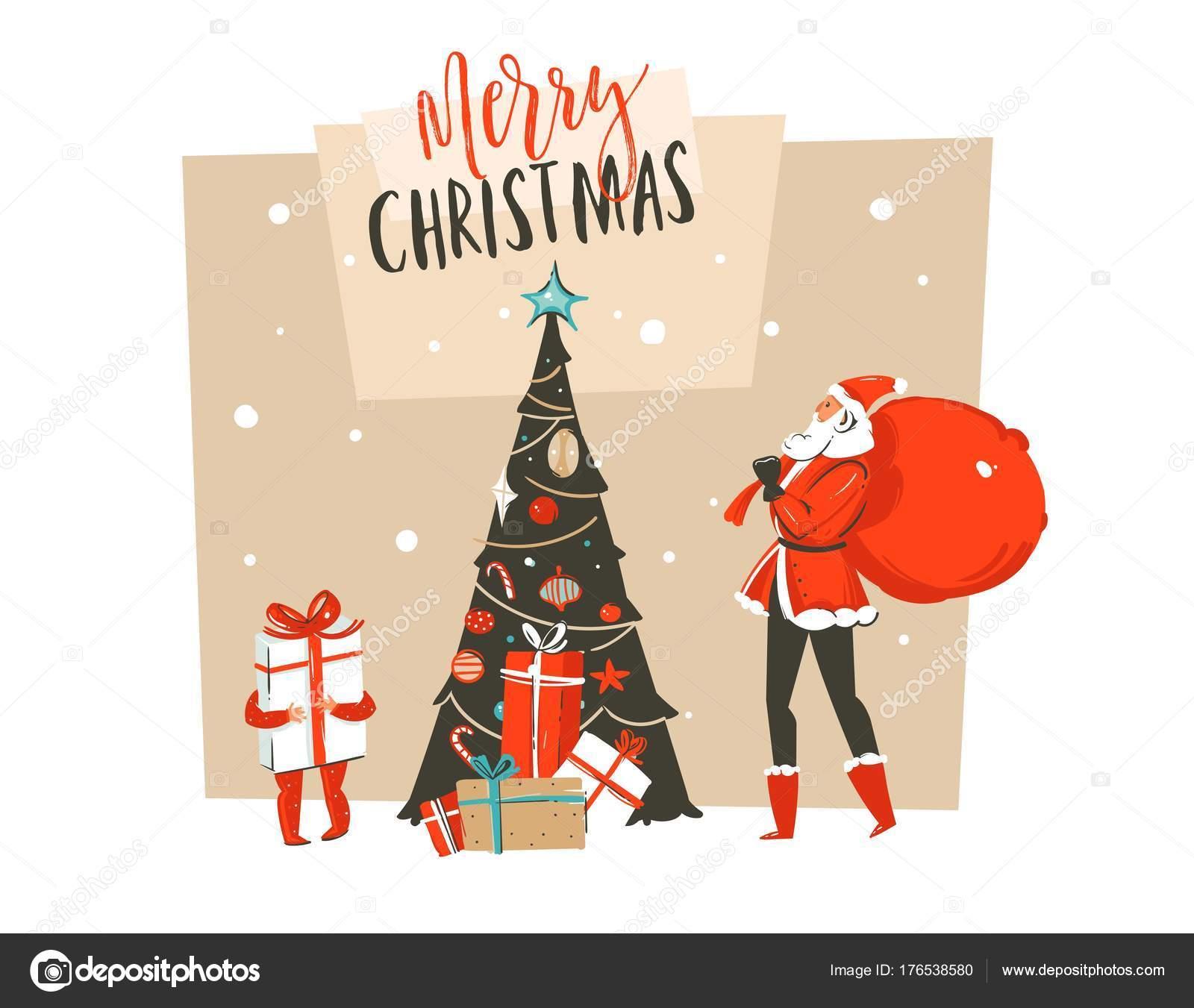 Handgezeichnete Vektor abstrakte Spaß Frohe Weihnachten Zeit Cartoon ...