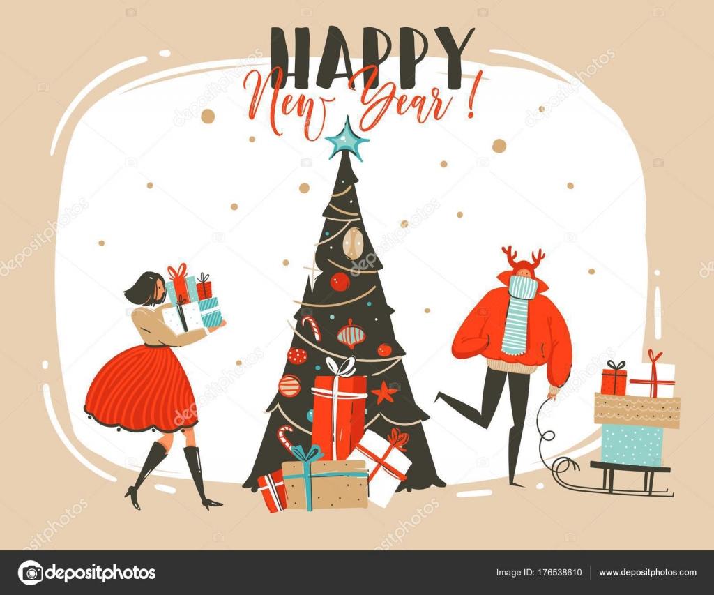 Hand getrokken vector abstracte plezier Merry Christmas tijd cartoon ...