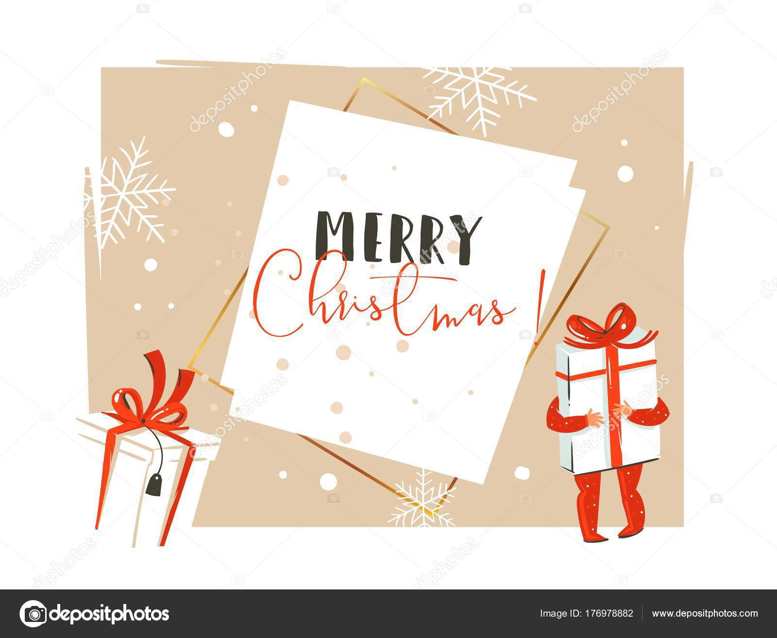 Mano dibujado vector feliz Navidad y feliz año nuevo tiempo cartoon ...
