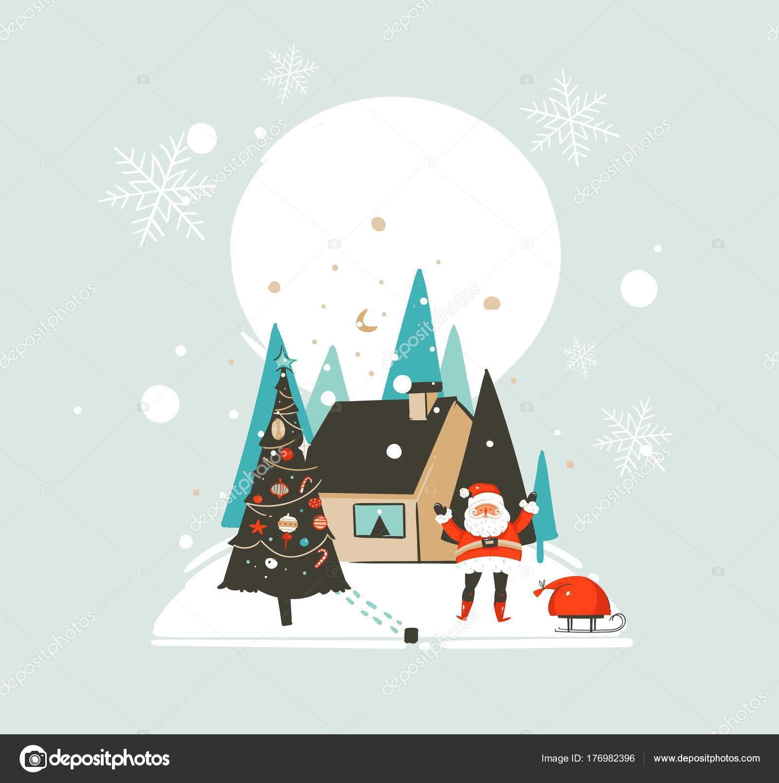 Dibujado a mano vector abstracto feliz Navidad y plantilla de ...