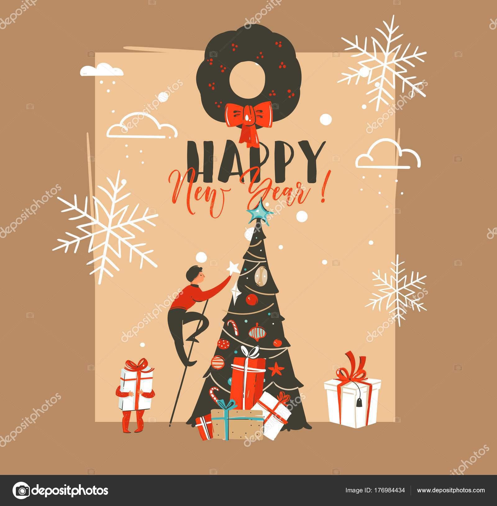 Mano dibujada abstract vector feliz Navidad y feliz año nuevo tiempo ...