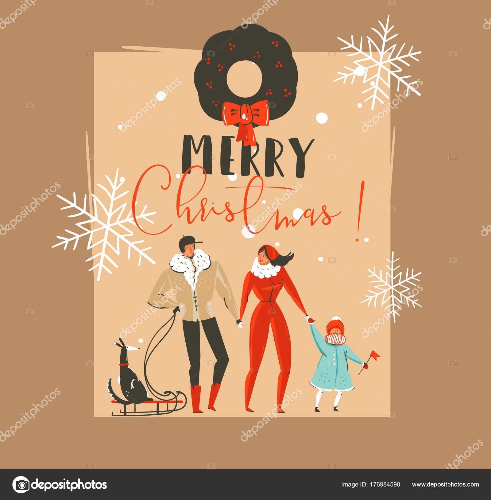 Abstracto de vector dibujado mano feliz Navidad y feliz año nuevo ...