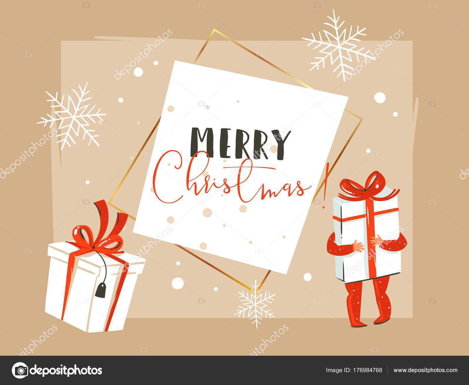 Hand Drawn Vector Abstract Merry Christmas And Happy New Year Time