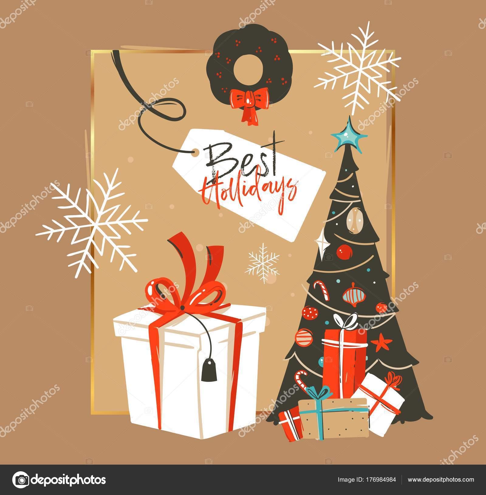 Vector dibujado feliz Navidad y feliz año nuevo tiempo cartoon ...