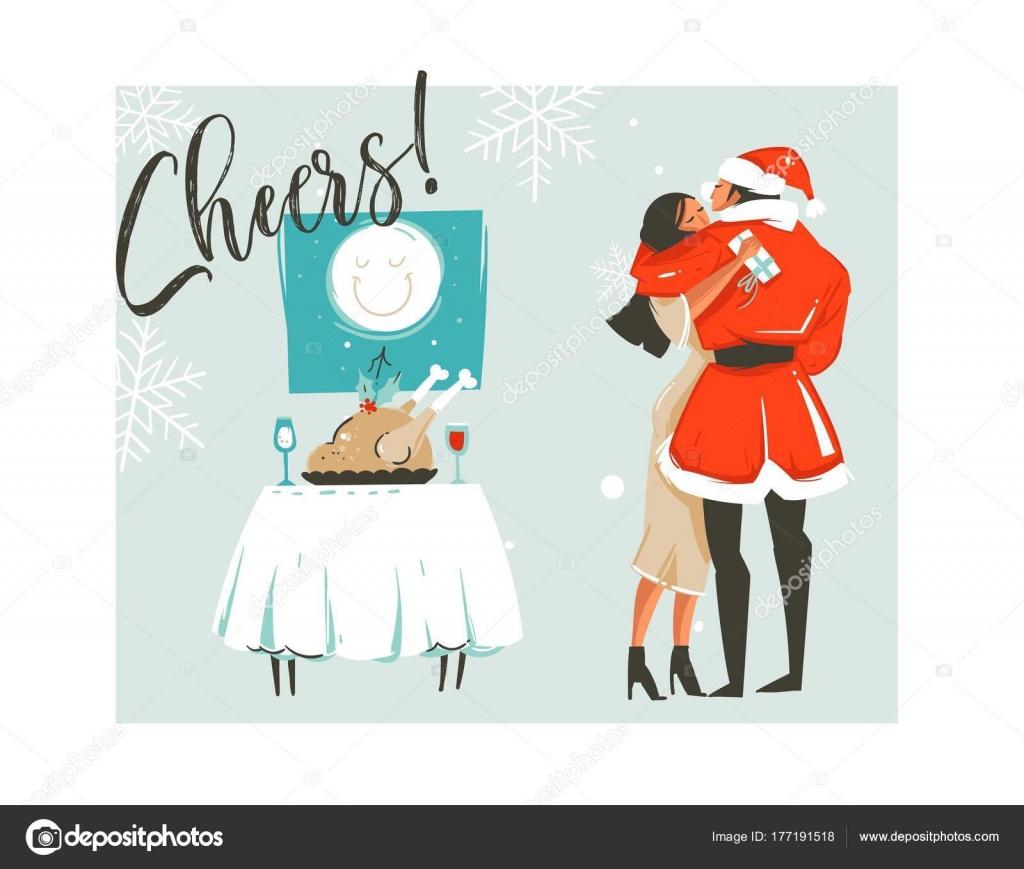 手描き漫画抽象的なメリー クリスマス時間ロマンチックなカップルは