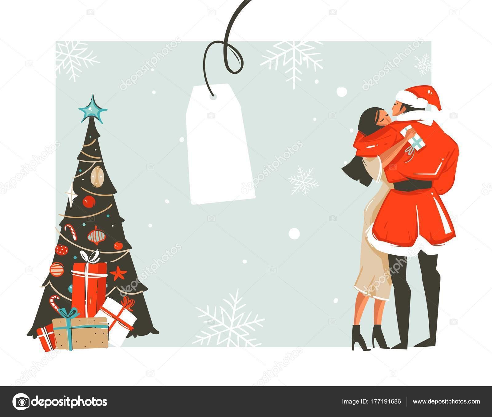 手描き抽象楽しいロマンチックなカップルとメリー クリスマス時間漫画