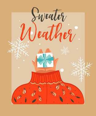 Hand drawn vector abstract Merry Christmas time cartoon illustration card with people in cozy sweater who gives surpsise gift box and modern typography Sweater weather isolated on craft background