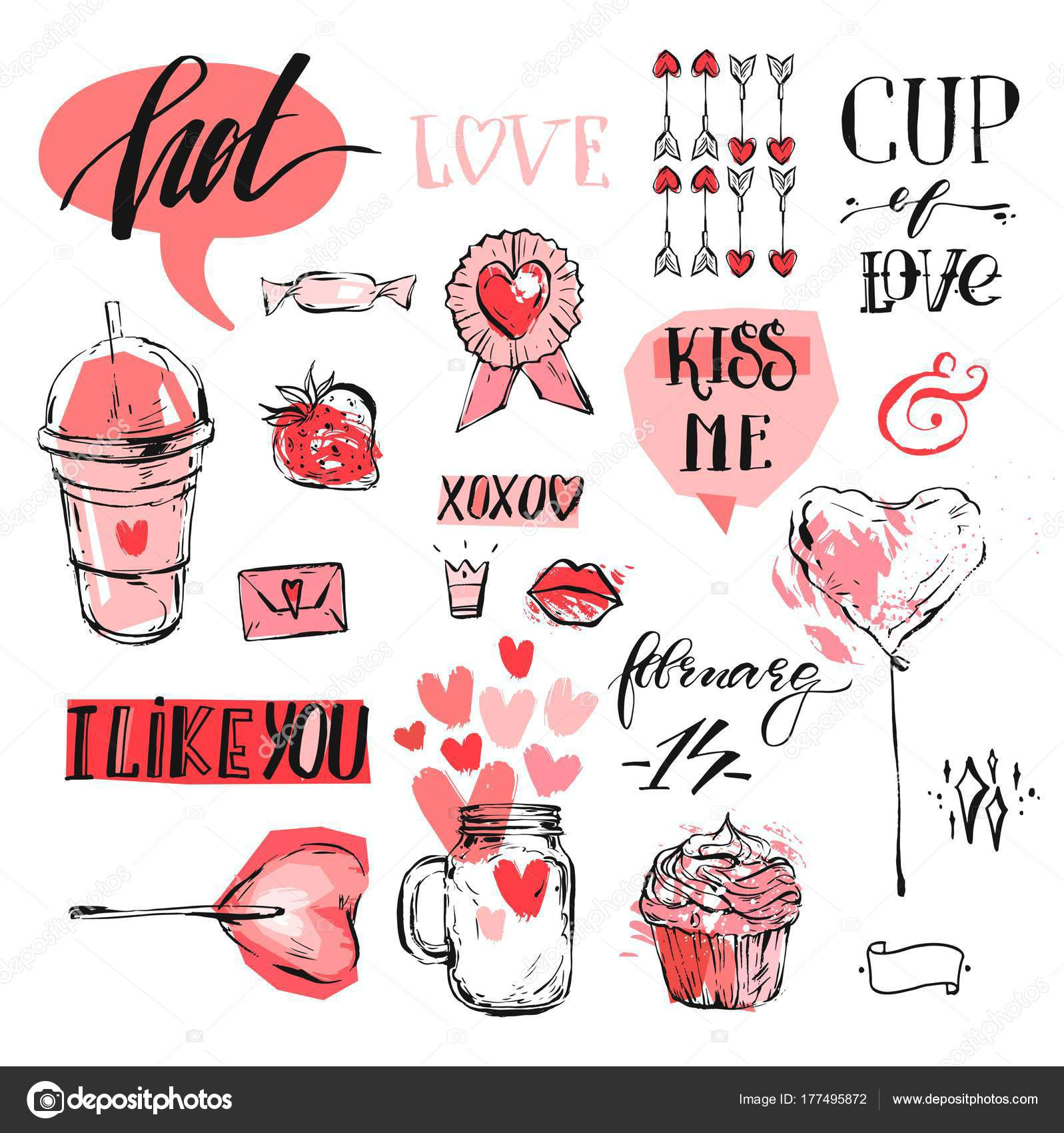 Hand Made Vector Abstract Graphic Valentines Day Design Element Set