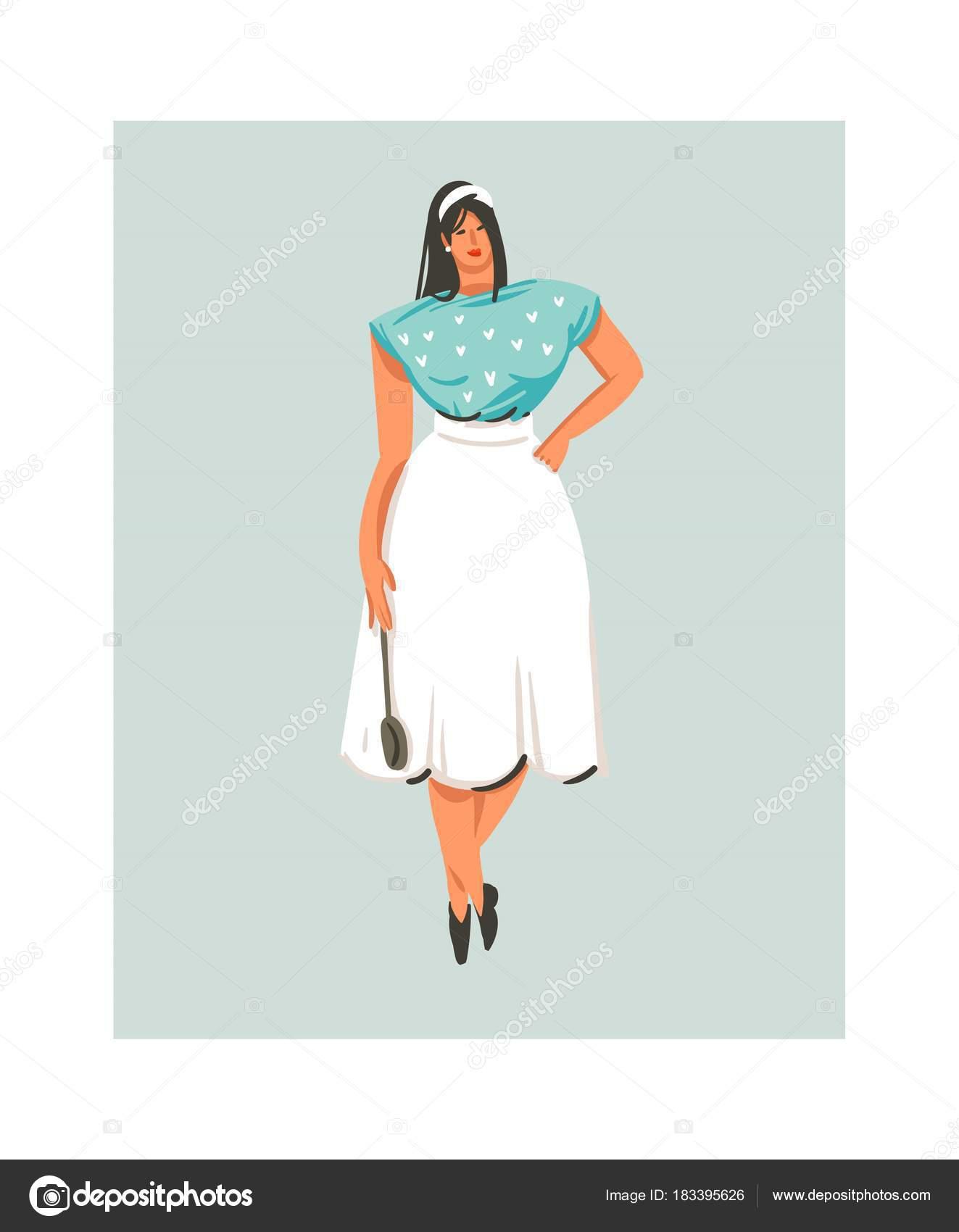 Temps De Cuisson Fun Icône Illustrations Avec La Femme Du Chef En