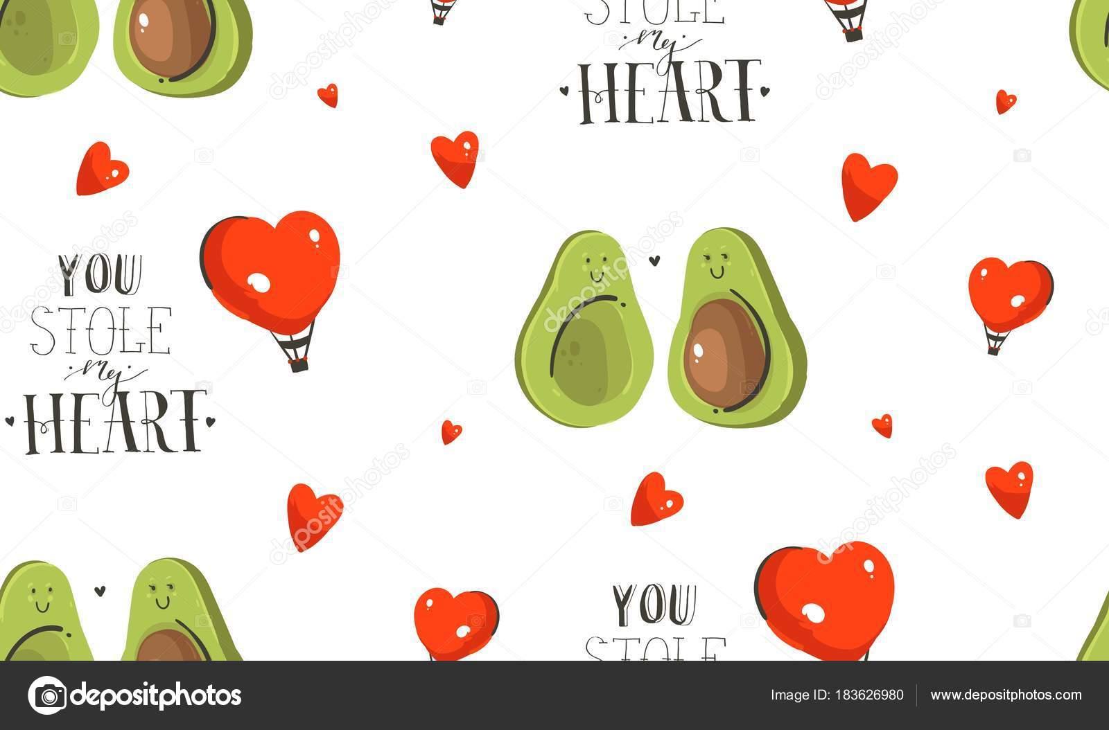 手描き抽象の現代漫画幸せなバレンタイン日コンセプト イラスト