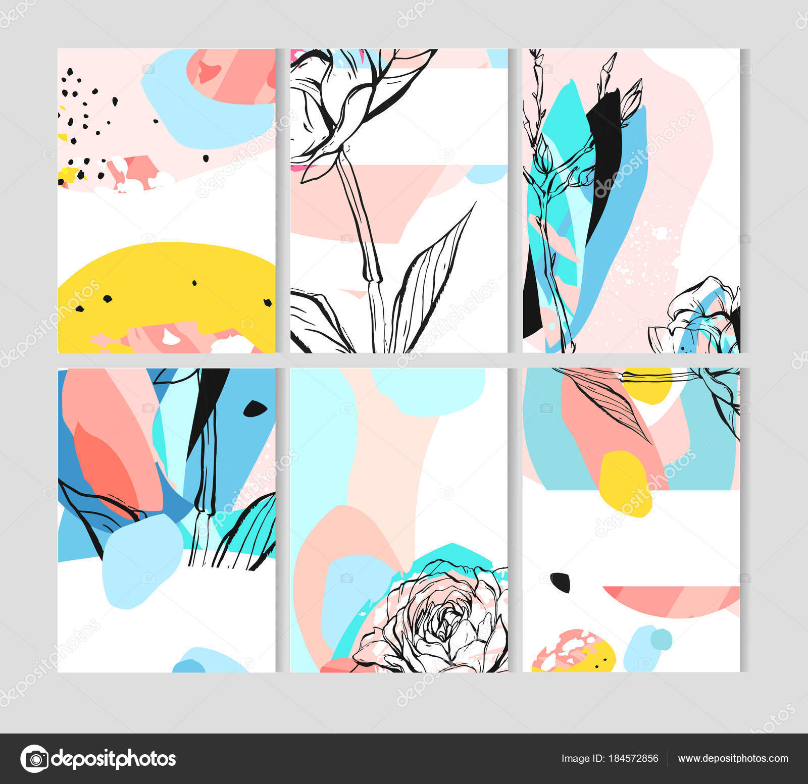 Hand drawn vector abstract creative unusual save the date cards ...