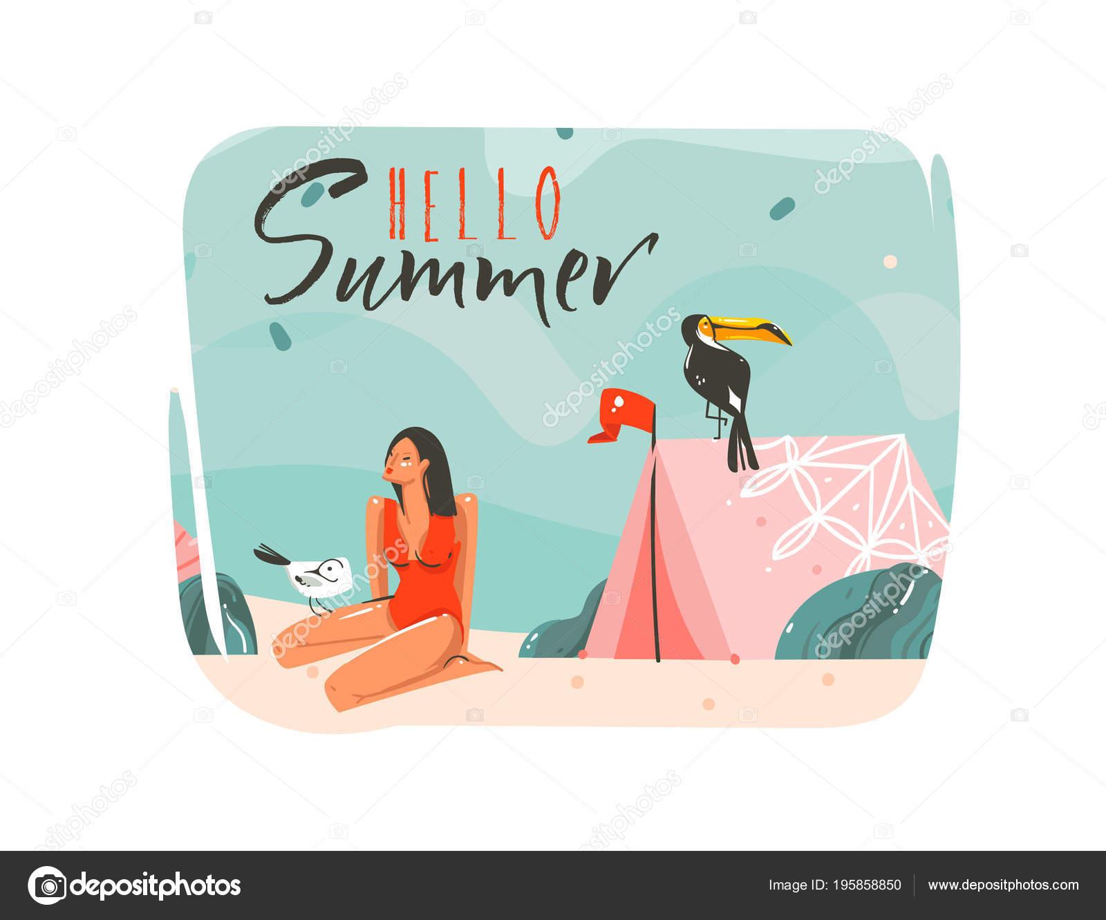 Dibujado a mano vector cartoon Resumen verano ilustraciones gráficas ...