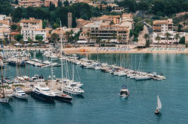 Fishing boat and yachts in Puerto de Soller, Majorca