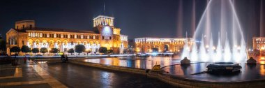 Republic Square with dancing fountains in Yerevan, Armenia.