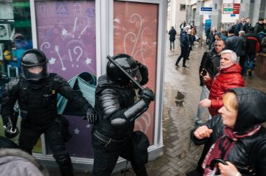 Special police unit with shields against ordinary citizens and protesters in Minsk