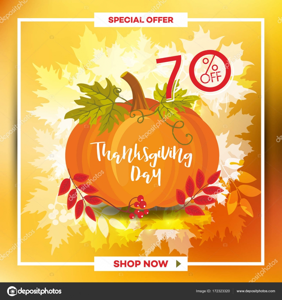 Template For Thanksgiving Day Sale Discount Banner With Autumn Leaves Stock Vector C Ofkosnekras Gmail Com 172323320