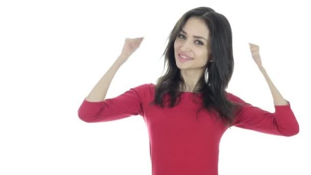 Slaví úspěch, Žena jásot a nadšení, bílé pozadí