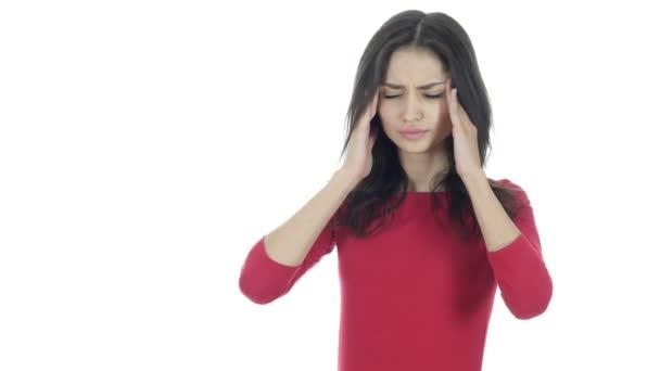 Fejfájás, frusztráció, feszült gyönyörű barna nő