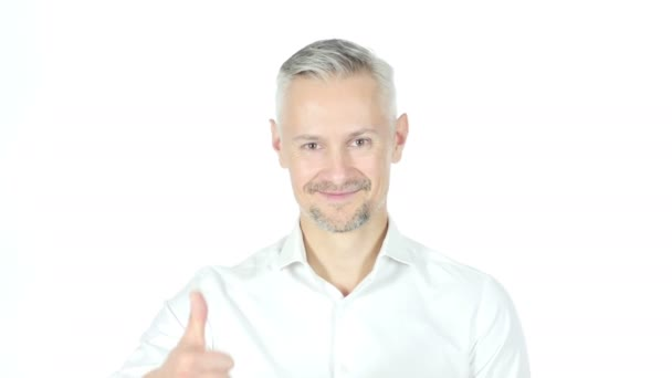 Thumbs Up By Businessman , White Background