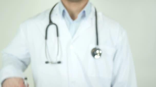 Eldercare, Doctor Writing on Transparent Screen