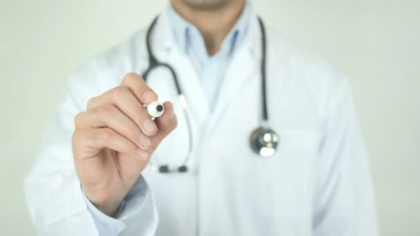 Thyroid Disease, Doctor Writing on Transparent Screen