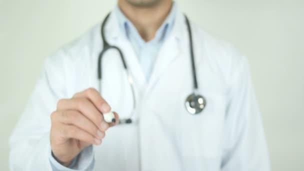 Mentális egészség, orvos írást átlátható képernyő