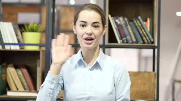 Hi, Hello, Woman Waving Hand, Indoor Office