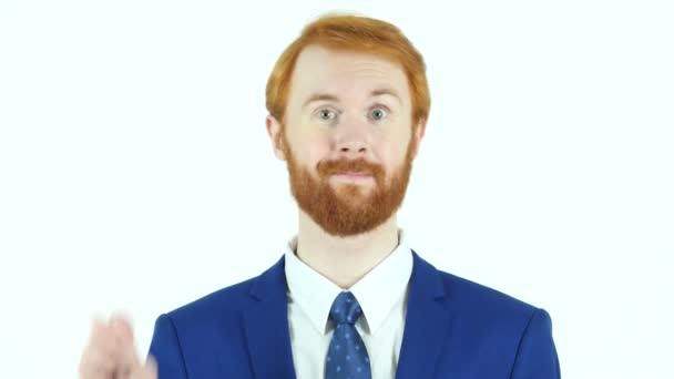 Victory Sign by Red Hair Beard Businessman