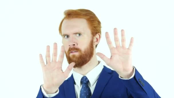 Rejecting, Disliking Gesture by Red Hair Beard Businessman, Isolated