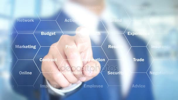 Financial Solutions, Businessman working on holographic interface, Motion